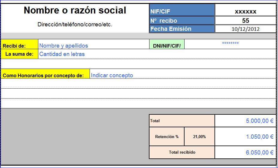 Modelo recibo for Plantillas de nomina en excel gratis